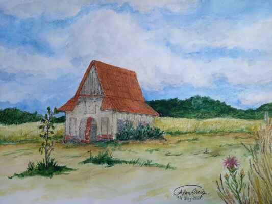 Rohožník 14.júl - Plein air akvarel, 30 x 40 cm a maľoval a aj fotografie poskytol do albumu Alan Graig.