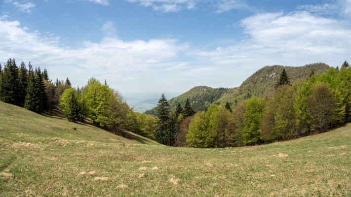 Hrebeň Prostej 1144 m n. m. začína tromi Borovými skalami