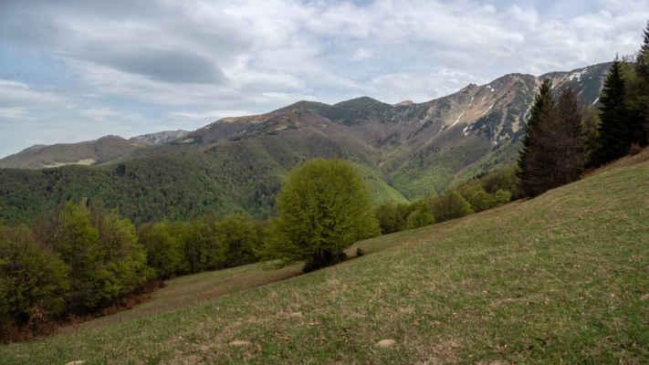 Výhľady spod Príslopka na jeden zo severných hrebeňov Krivánskej Malej Matry
