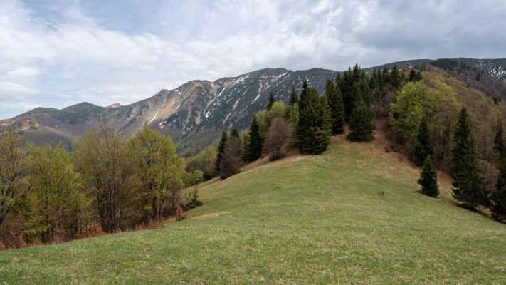 Hrebeň Krivánskej Malej Matry, vľavo vykúka Pekelník 1609 m n. m.