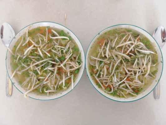 Vařil jsem kuřecí polévku se zeleninou a bambusoými výhonky.