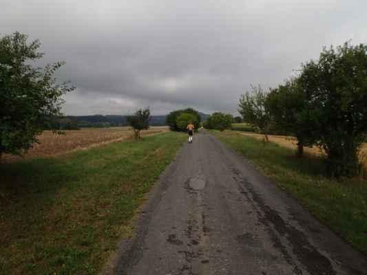 Cesta do Újezda pod Troskami pod zamračenou oblohou