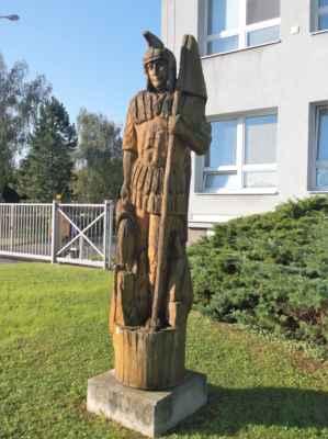 Svatý Florián v Karviné - socha, dřevo