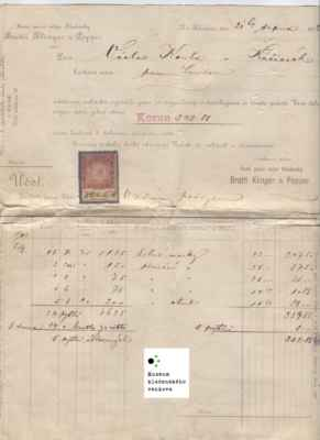 KLADNO, První parní mlýn Kladenský Bratři Klinger a Popper - faktura 1902